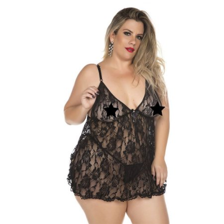 Camisola Plus Size Renda Fechada Pimenta Sexy