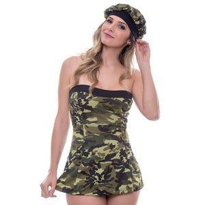 Kit Fantasia Militar Vestido Amareto