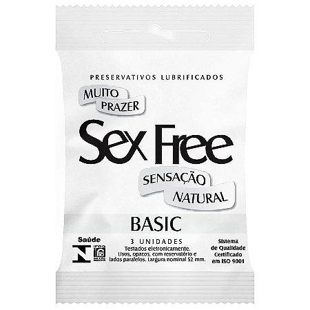 Preservativo Lubrificado Sex Free Basic Sensação Natural com 3 unidades
