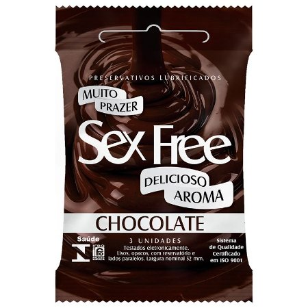 Preservativo Lubrificado Sex Free Aroma Chocolate com 3 unidades