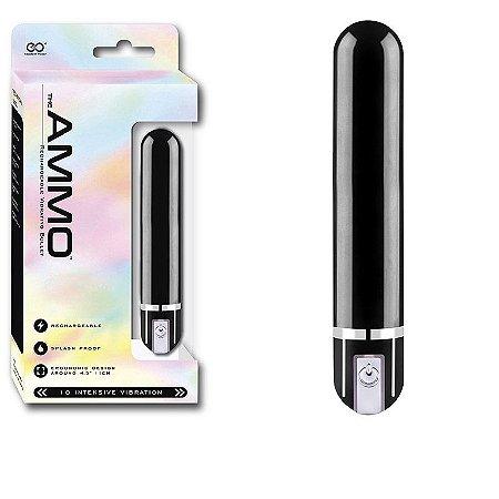 The Ammo Vibrador Recarregavel, 11cm na cor preto, 10 modos de vibração a prova d´água