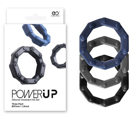 Power Up - Kit de anéis penianos de silicone - 3 unidades
