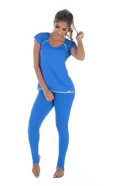 Calça Legging com Pézinho Fitness Azul