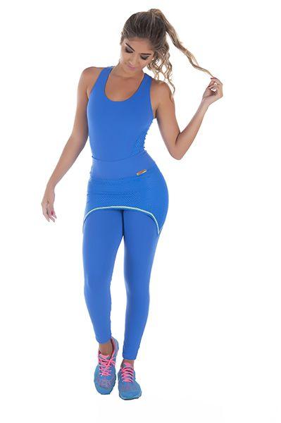 Calça com Tapa Bumbum Fitness Azul