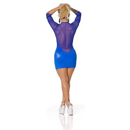 Vestido Sensual em Tecido Acetinado e Tule Transparente