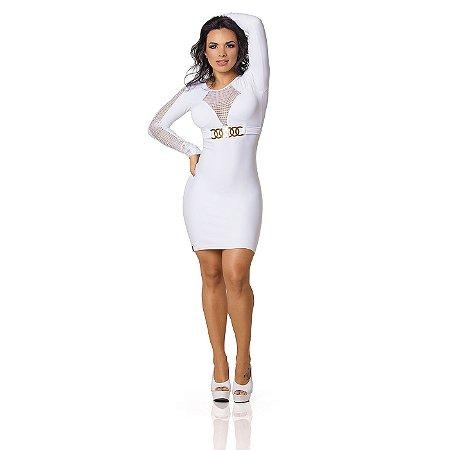 Vestido Sensual com Argolas Branco