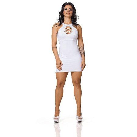 Vestido Sensual com Bojo Decote Trançado Branco