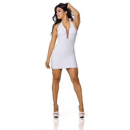 Vestido Sensual com Decote Transparente em Tule Branco