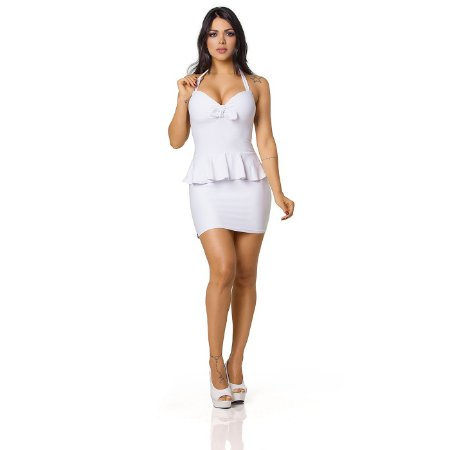 Vestido Sensual com Laço e Babado Branco