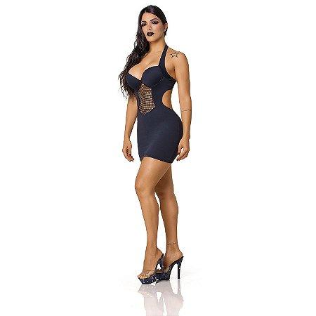 Vestido Sensual Frente Única com Decote Arrastão Preto