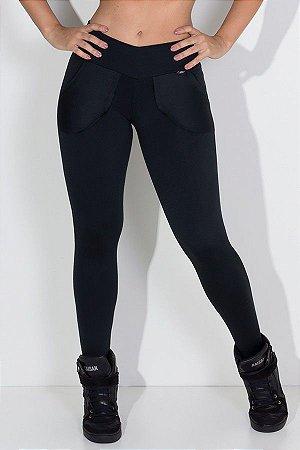 Calça Legging Lisa Com Bolso (preto)