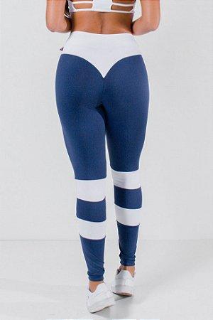 Calça Bumbum na Nuca Duas Cores (Azul Marinho / Branco)