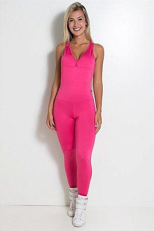 Macacão Fitness Bela Cores Lisas (Rosa Pink)
