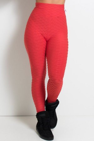 Calça Legging Tecido Bolha (Vermelho)