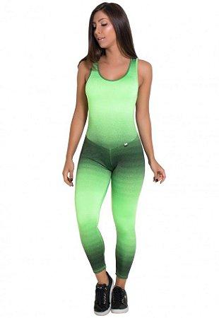 Macacão Fitness Comprido Carol (Mancha Verde Limão e Preto)