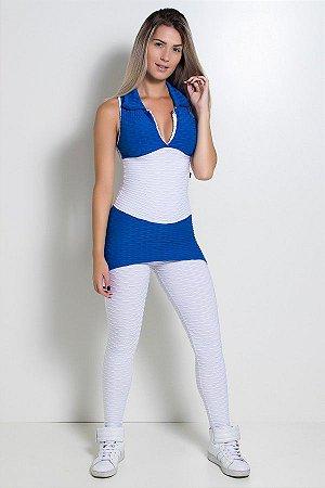 Macacão Tecido Bolha 2 Cores (Branco / Azul Royal)