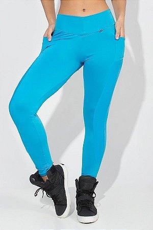 Calça Paula Lisa com Detalhe Dry Fit e Bolso (Azul Celeste)