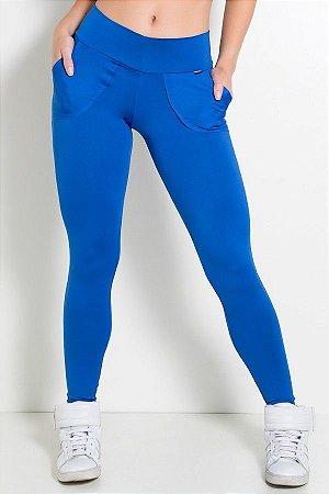 Calça Legging Lisa com Bolso (Azul Royal)