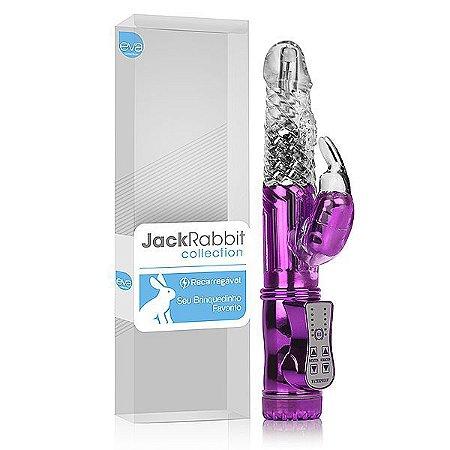 Vibrador Rotativo Jack Rabbit Recarregável Lilás Cromado Coelhinho Programas de Vibração