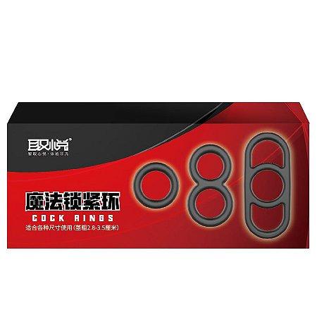 Magic Cock Ring - Kit Com 3 Anes para Estrangulamento Testicular - Black