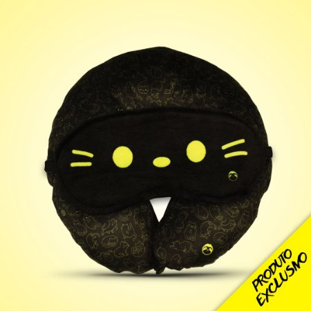 Almofada de pescoço gatinhos + tapa olho