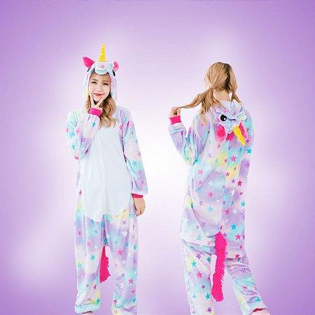 Pijama Macacão - Unicórnio e Estrelas