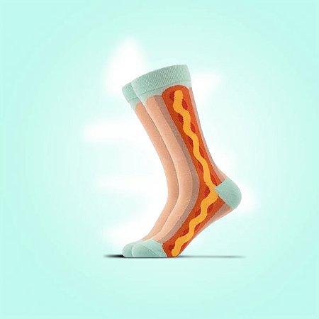 Meia estampada Hot dog