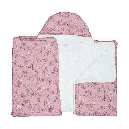 Toalha de Banho Abraço BioBaby Bebê Flamingo