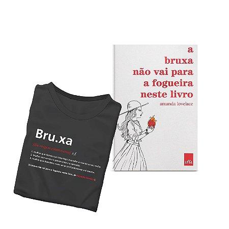 KIT livro A bruxa não vai para a fogueira neste livro + Camiseta Preta Verbete Bruxa