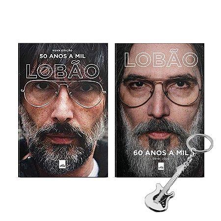 KIT Lobão 50 anos a mil (nova edição) + 60 anos a mil + BRINDE 01 chaveiro de guitarra
