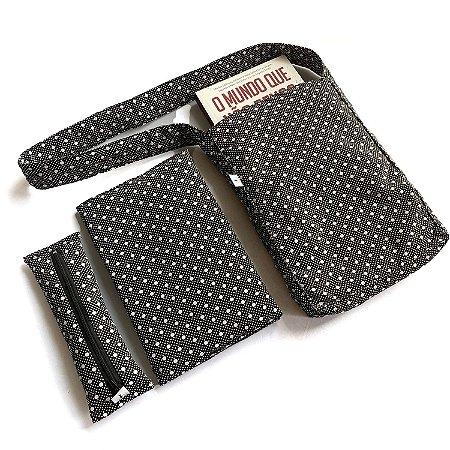 KIT Leitor - Bolsa + Estojo marcador + Capa protetora_Estampa bolinhas preta e branca