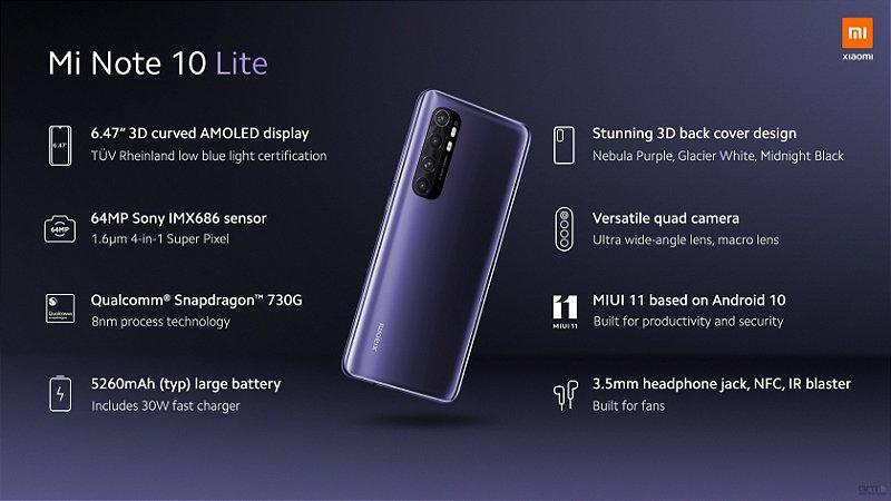 Xiaomi Mi Note 10 Lite: 6 GB RAM e 128 GB ROM - Versão Global - 5260 mAh Bateria - Snapdragon 730G