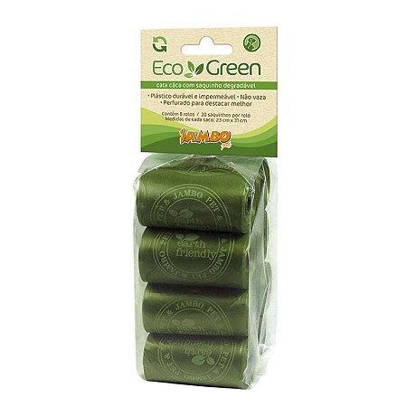 Refil Saquinhos Biodegradável para Cachorro Gato Cata cáca 8 rolos EcoGreen