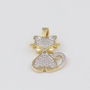 Pingente Folheado a Ouro 18k Gato, com Pedra de Zircônia Cristal Cravada