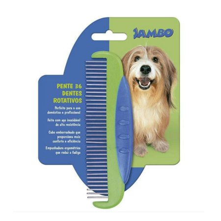 Pente para Cachorro com 36 dentes rotativos Jambo Pet