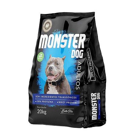 Ração Natural Sem Transgênicos Whey Protein Monster Dog 20kg Bella Vita