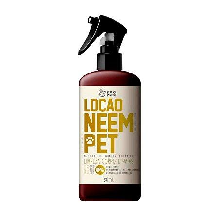 Loção Natural para Cães Gatos Neem Pet Limpeza Corpo e Patas 180 ml Preserva Mundi