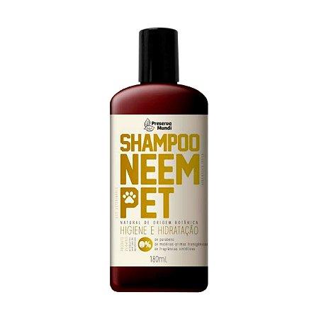 Shampoo Natural para Cães Gatos Neem Pet 180 ml Preserva Mundi