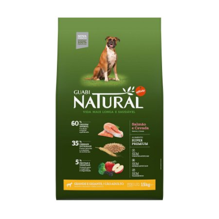 Ração Natural Salmão Cevada Cães Adultos Gigante Grande Porte Guabi Natural