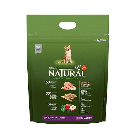 Ração Natural Salmão Cevada Cães Adultos Médio Porte Guabi Natural