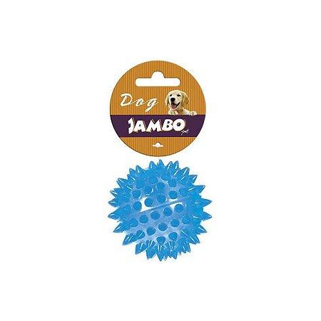 Brinquedo para Cachorro Bola Espinho com Som Azul P Jambo Pet