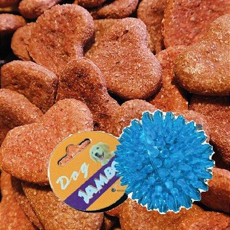 Kit Biscoito para Cachorro Coração Bovino Baba Cão 130g com Bolinha P