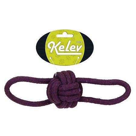 Brinquedo para Cachorro Mordedor Bola Corda Kelev Roxo Jambo Pet