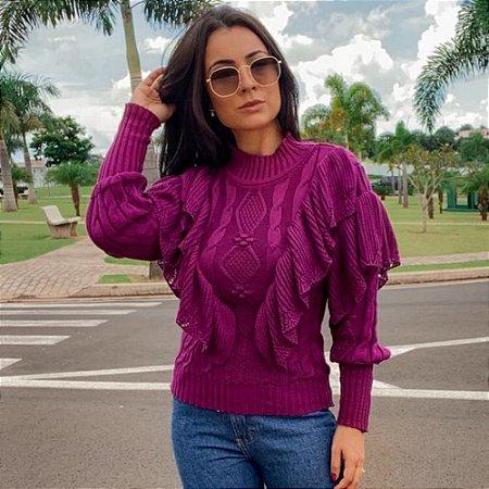 Blusa manga longa em tricot Katty - UVA
