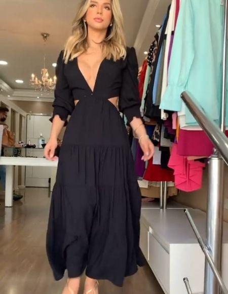 Vestido longo em viscolinho Tássia