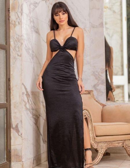 Vestido longo com fenda lateral Viviane