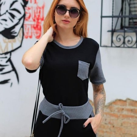Conjunto de calça e blusa em crepe com elastano