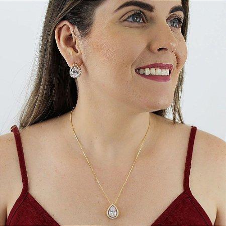 Conjunto de colar e brincos gota de zircônia cristal folheado a ouro 18k
