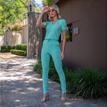 Conjunto de calça e blusa gola v em malha canelada com elastano - TIFFANY