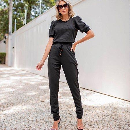 Conjunto de calça e blusa em malha canelada com elastano - PRETO